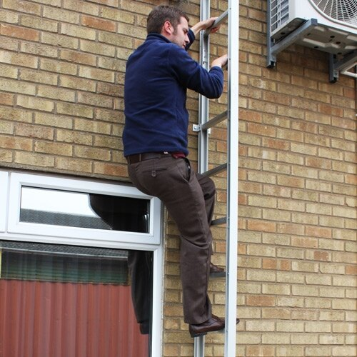 Escaping out of a window and down the Saffold ladder enables a controlled descent to safety