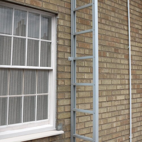 The ladder is safely secured to the exterior of your building, the entire stainless steel construction negates rusting and damage